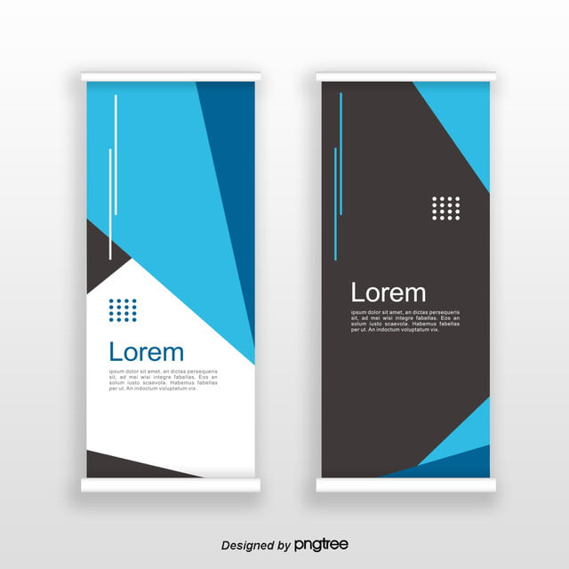 blue simple creative block standee banner template