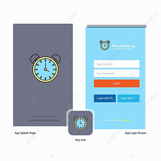 Company Alarm Clock Splash Screen And Login Page Design With