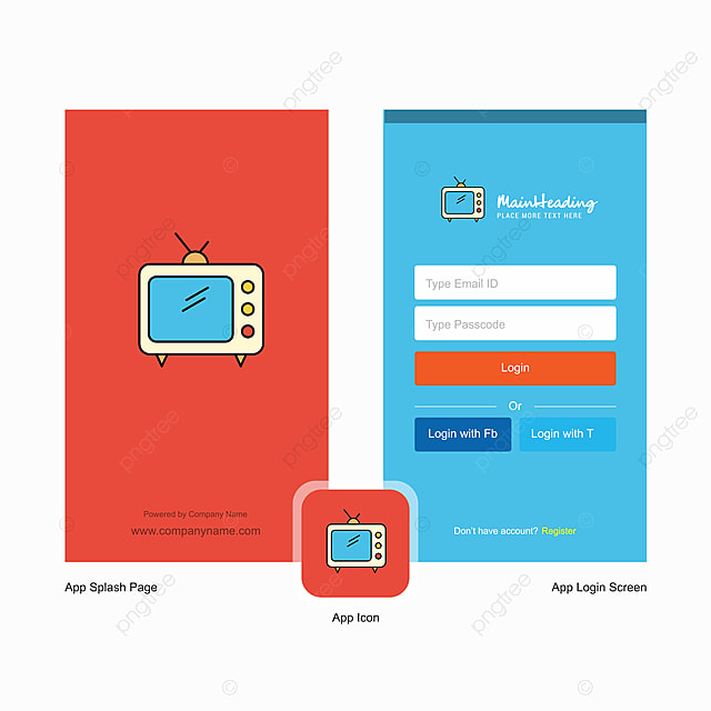 company television splash screen and login page design with