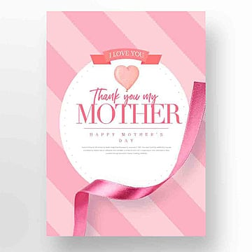 Fashionable, Simple, Aesthetic and Romantic Mothers Day Promotional Cards, Ribbon, Aestheticism, Propaganda PNG and PSD