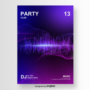Neon Music Party Poster Template, Template, Poster, Violet PNG and PSD