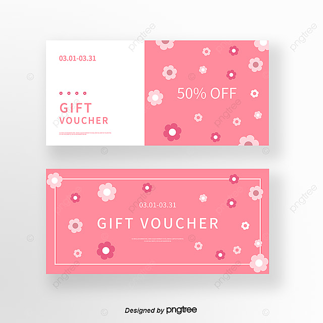 cute pink fresh flowers spring coupon set template