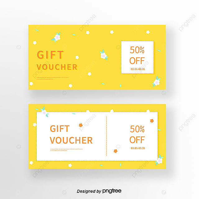 Lovely Yellow Fresh Flowers Spring Coupon Template