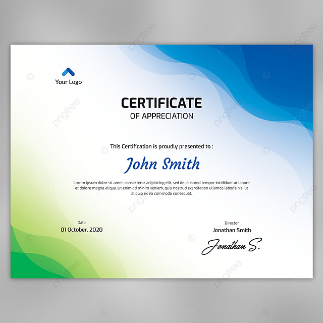 abstract waves certificate template fully editable