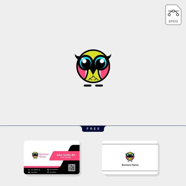 Süße Eule Logo Template Illustration Freie Visitenkarte