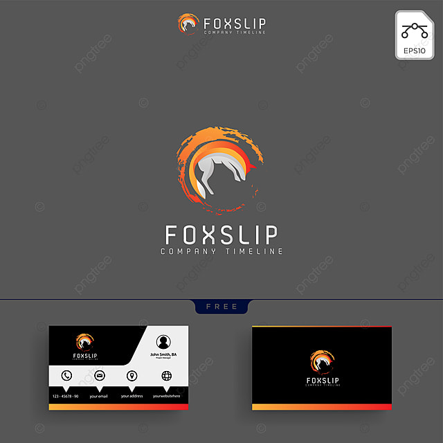 fox tail logo template and business card Template for Free Download