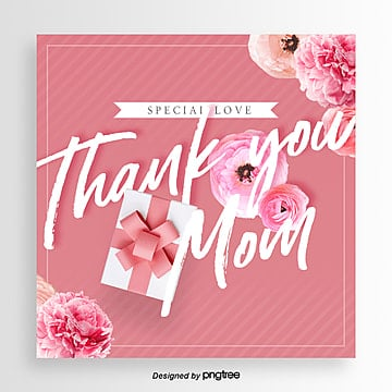 Fashion Fresh Romantic Flowers Thanksgiving Mothers Day Card, Ribbon, Card, Aestheticism PNG and PSD