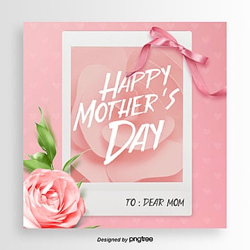 Fashionable and Aesthetic Flower Ribbon Mothers Day Festival Card Template