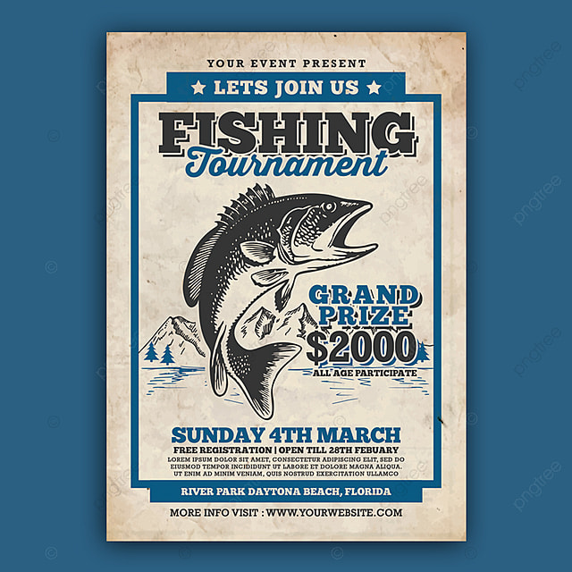 fishing tournament flyer template for free download on pngtree