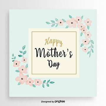 blue flower mothers day card Template