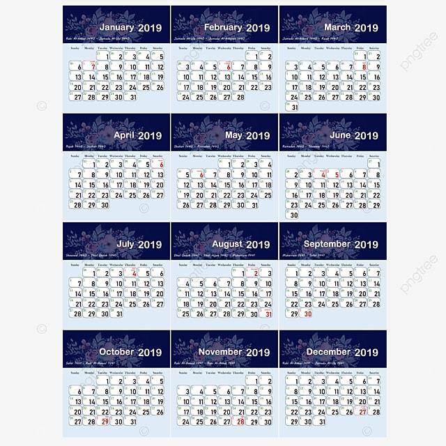 Islamic Hijri Calendar 1440 2019 Template for Free Download