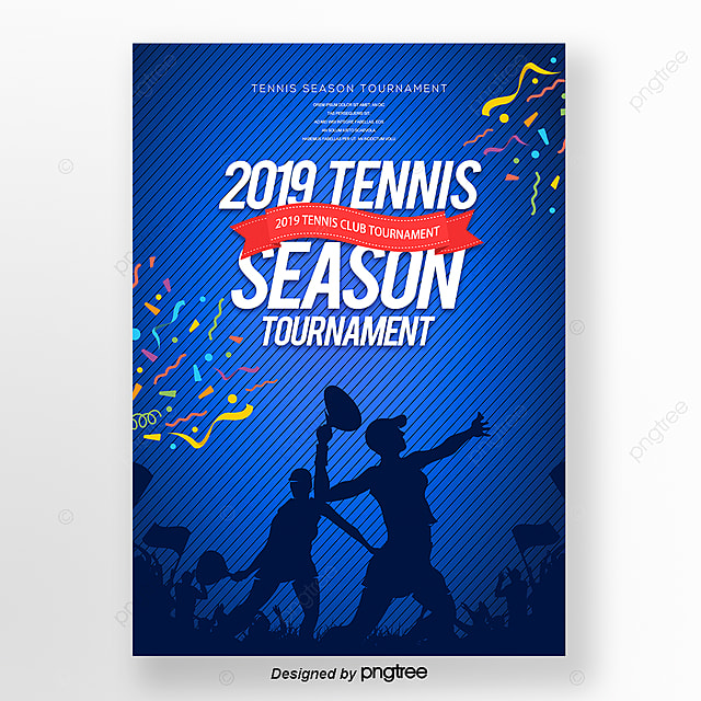 Modern Fashion Cartoon Silhouette Tennis Posters Template