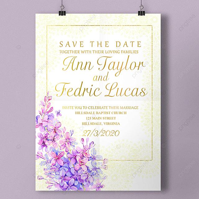 Soft Purple Lavender Wedding Invitation Template For Free Download