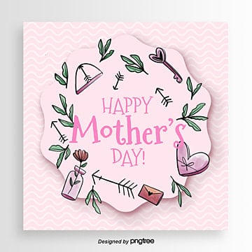 Mothers Day Card Template with Soft and Fresh Pink Patterns Background, Irregularity, Mom, Hand Painted PNG and PSD