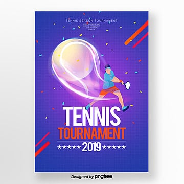 Personality Fashion Simple Tennis Publicity Poster Template