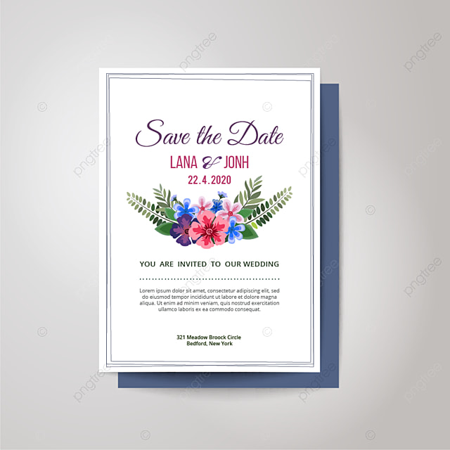 simple elegant flower wedding invitation card template for