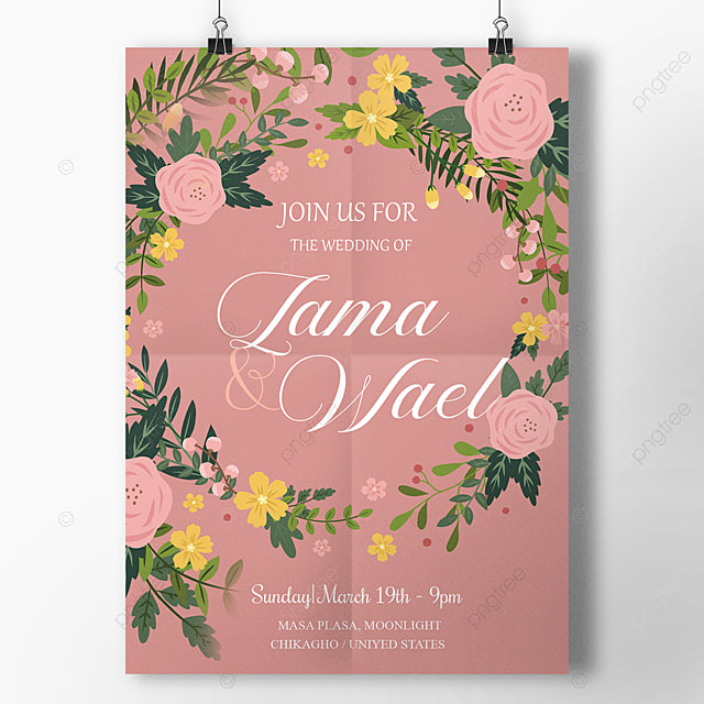 Floral Minimal Wedding Flyer Template: Flowers Wreath Pink Wedding Template Template For Free