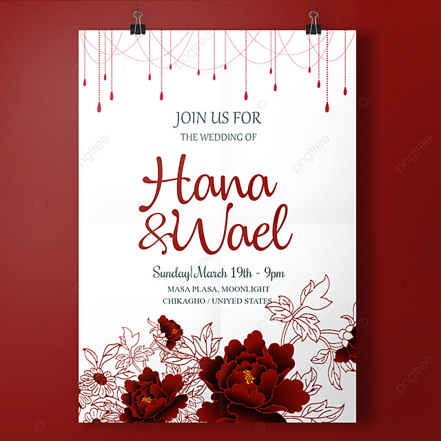 Romance Red Wedding Invitation Template For Free Download