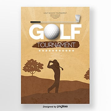 Fashion retro style golf club competition posters Template