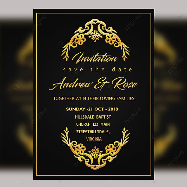 Logo Mockup Design For Business: Black Vintage Wedding Card Template Psd With Gold Frame