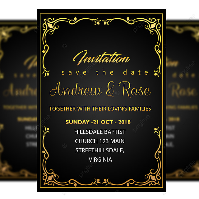 Black Wedding Invitation Card Template Vintage Style With
