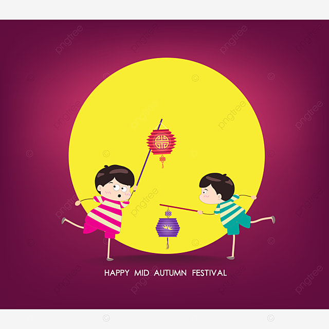boy and girl with lantern happy mid autumn festival