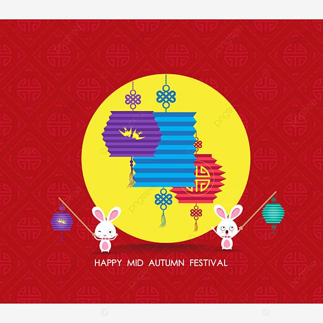 flat chinese lantern and rabbit happy mid autumn festival