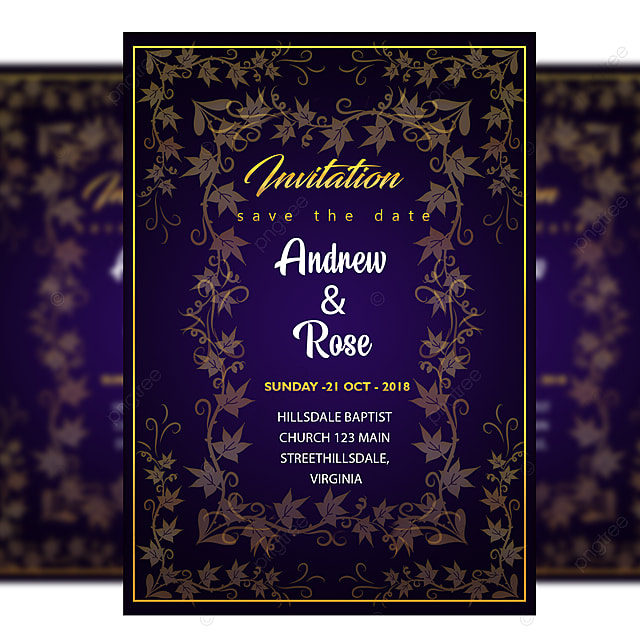 Flower Wedding Invitation Card Template With Amazing Floral