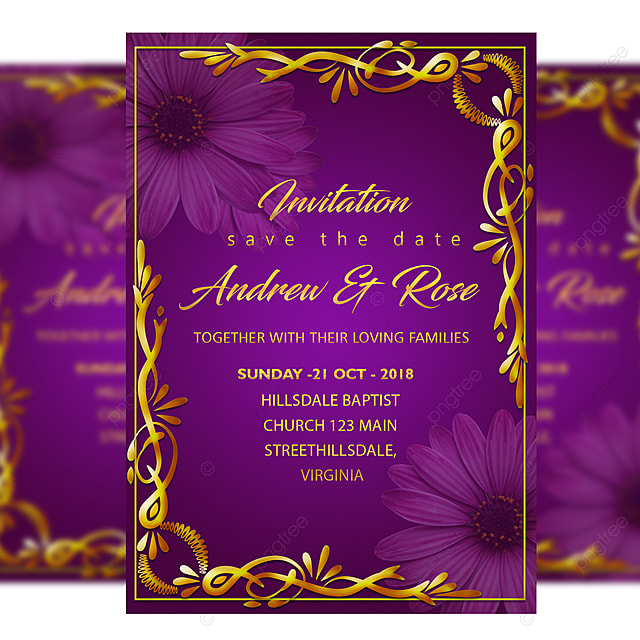 gold wedding invitation card template with with gold frame