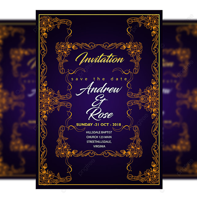 Gold Frame Wedding Invitation Card Templates Psd With Type