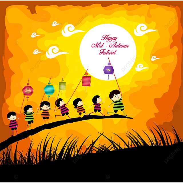 mid autumn festival background with happy kids playing lanterns