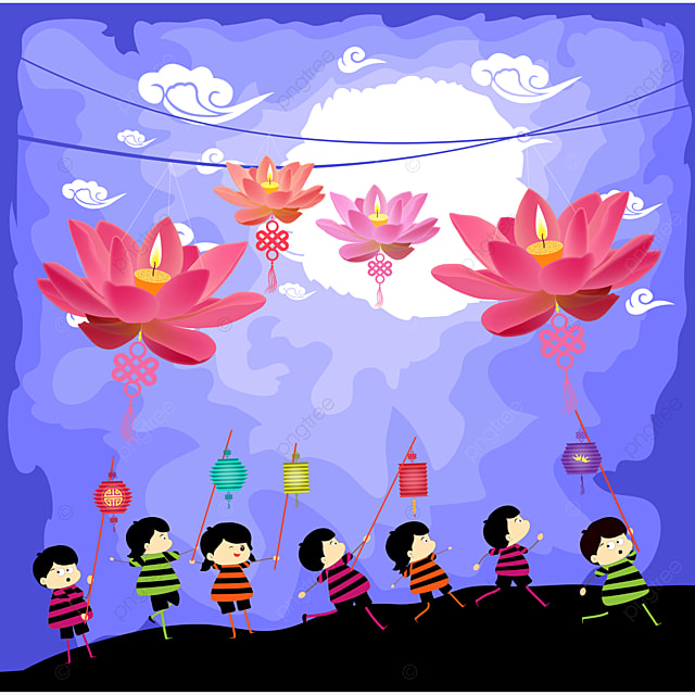 mid autumn festival background with kids and rabbit playing lanterns