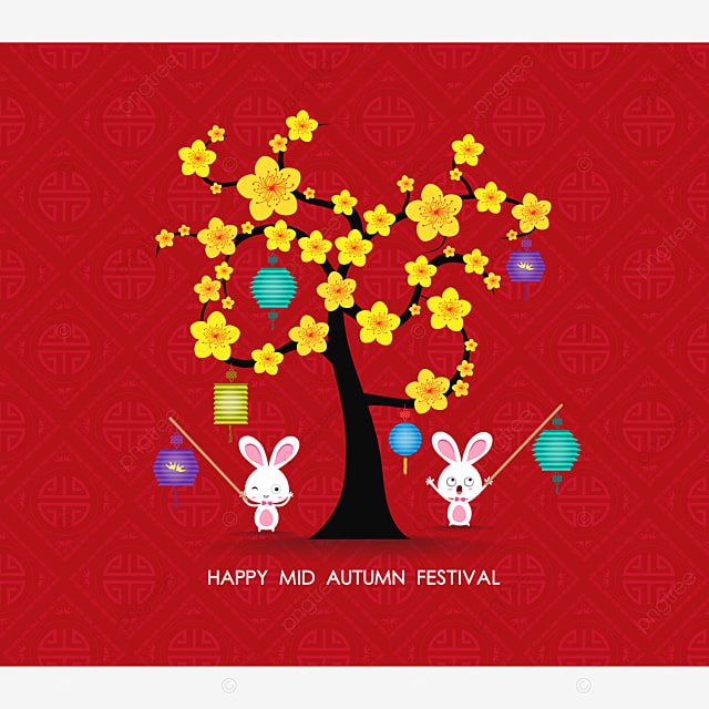 mid autumn festival rabbit playing with lanterns happy greeting card