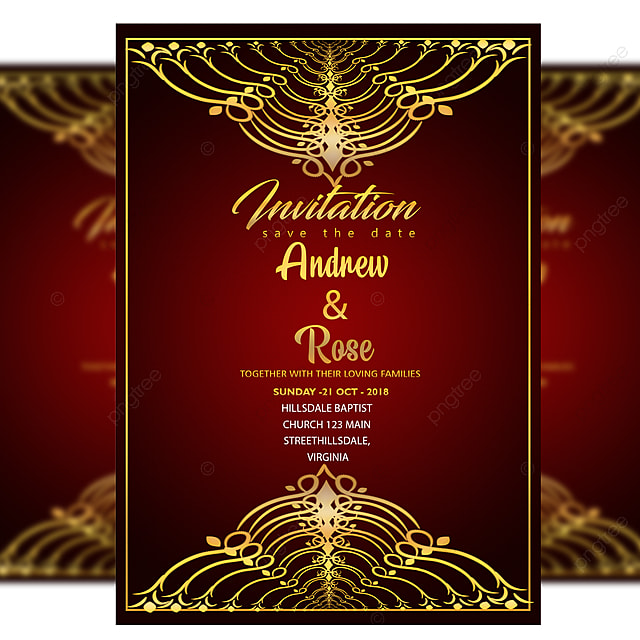 Red Royal Wedding Invitation Card Psd Template With Gold