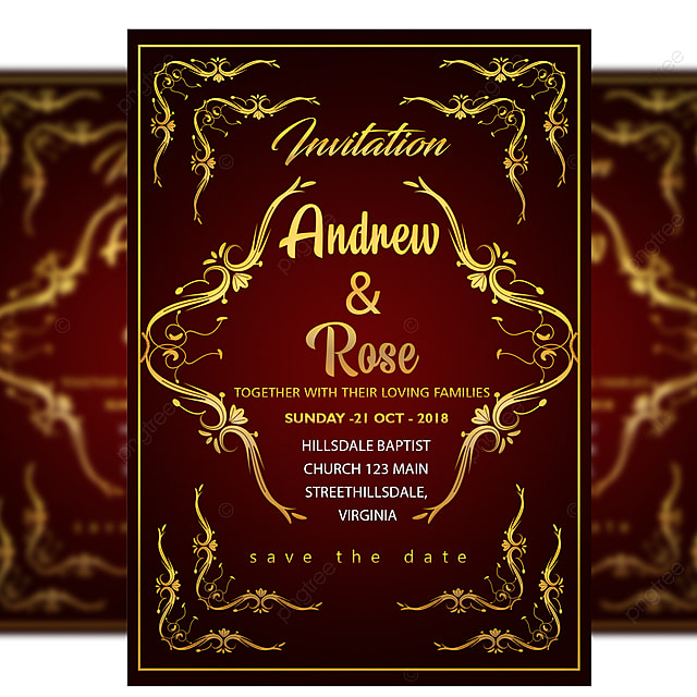 red wedding invitation card royal template with gold