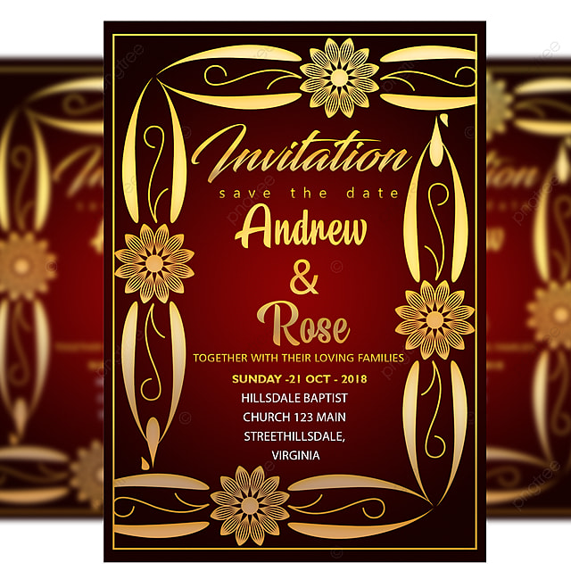 romantic wedding invitation card template with gold frame