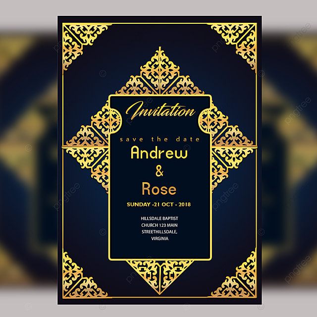 Wedding Invitation Card Design Template With Gold Floral