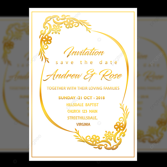 white wedding invitation card design template with gold