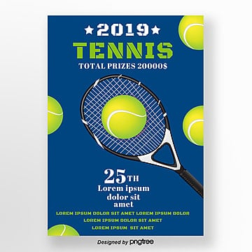 blue simple tennis racket sports poster Template