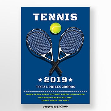Blue Tennis Racket Tennis Sports Simple Poster Template