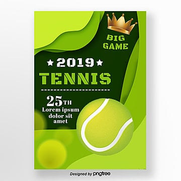 Green Stereoscopic Tennis Crown Sports Poster, Sports, Paper Cutting Style, Arrangement PNG and PSD