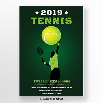 green tennis playersracket sports gradual poster Template