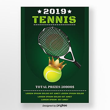 green tennis racket crown gradient poster Template