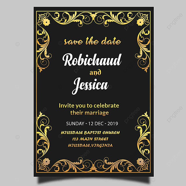 black royal wedding invitation card template psd template for free download on pngtree