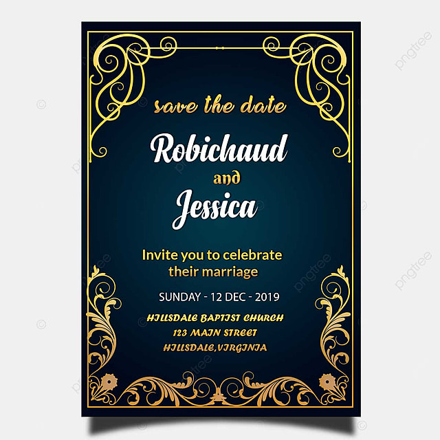 Blue Vintage Wedding Invitation Card Template Psd With Gold Frame