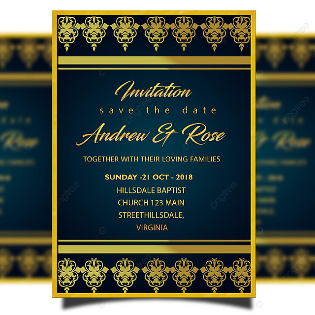 Blue Vintage Wedding Invitation Card Template Psd With Gold Lace And