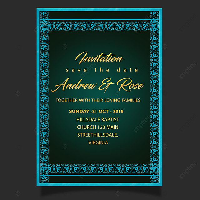 Blue Vintage Wedding Invitation Card Template With Creative