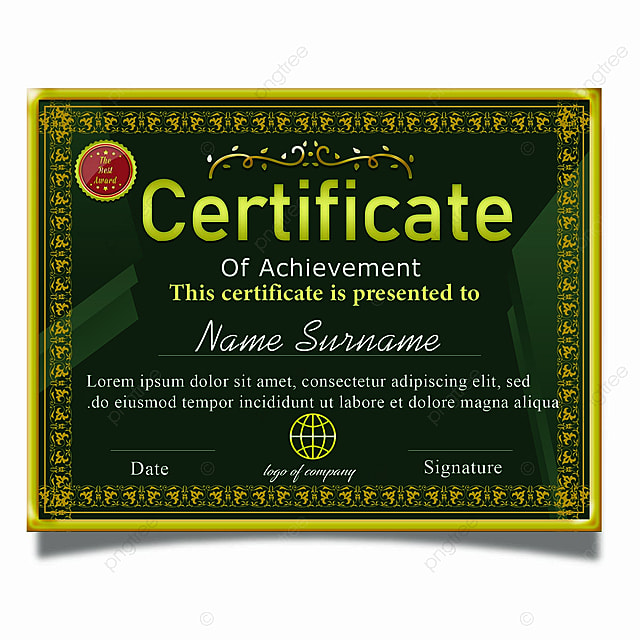 Certificate Of Achievement Template Psd With Gold Border