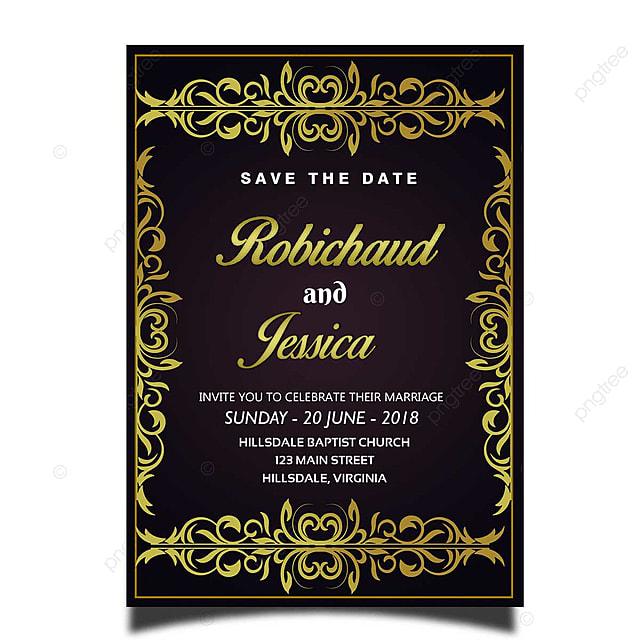 Elegance Gold Frame Wedding Invitation Card Template Psd