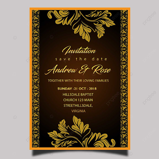 elegant gold wedding invitation card template with gold frame and gold border template for free
